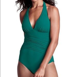 Beautiful emerald green one piece halter swimsuit